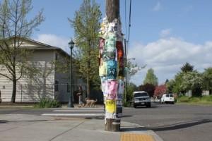 flyers on telephone pole