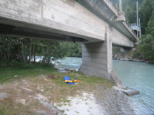 Homeless living under a bridge