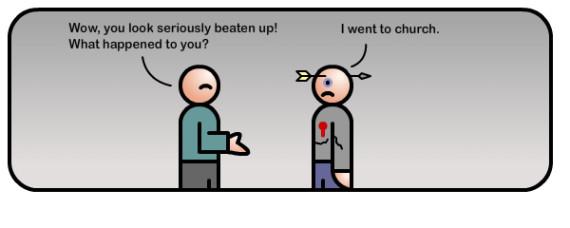 beaten up at church