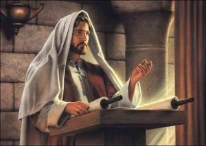 Jesus teaching in Luke 4