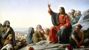 Jesus teaches sermon on the mount